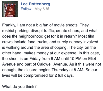 Lee Rottenburg's Facebook post.