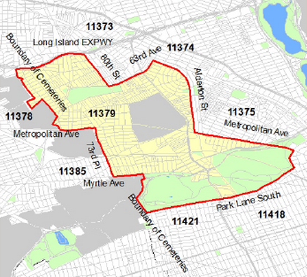 Map of the boundaries of the sprayed area in yellow. Photo provided by NYC Dept. of Health.