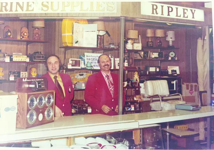 Ripley, left, at his Grand Ave. shop in the 1970s.
