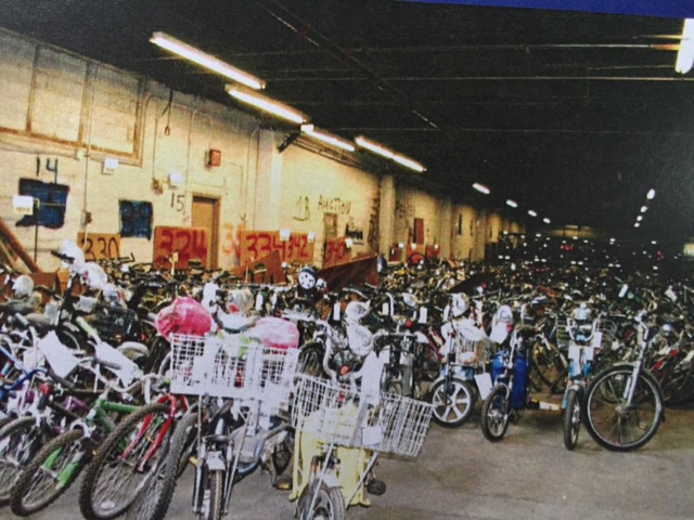 A picture of some of the types of items at other police department warehouses of this type. Here are hundreds of bicycles.