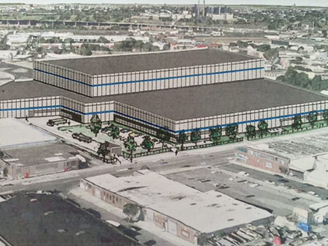 Rendering of the tentative design of the 300,000 square foot building on the 8-acre site at 55-15 Grand Avenue in Maspeth. The old Star Corrugated Box site.