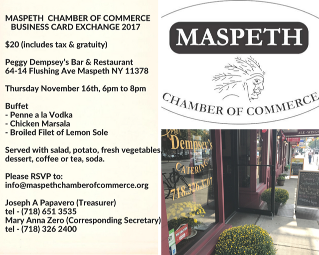 The maspeth chamber of commerces business card exchange is tonight bizcard reheart Images